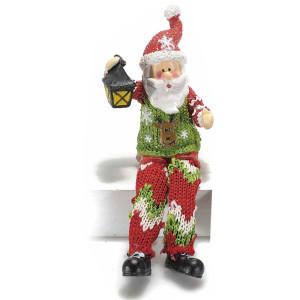 Figurina Mos Craciun picioare textil Red