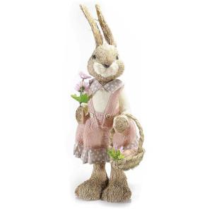 Figurina Iepuras cu rochita roz