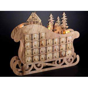 Calendar Advent Sleigh cu led