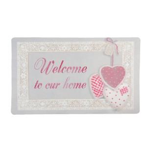 Covoras intrare casa roz gri Welcome 74*44 cm